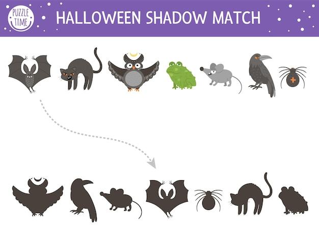 Halloween-schatten-matching-aktivität für kinder. herbstpuzzle mit gruseligen tieren. lernspiel für kinder mit schwarzer katze, fledermaus, eule, rabe, spinne. finden sie das richtige arbeitsblatt zum ausdrucken der silhouette.