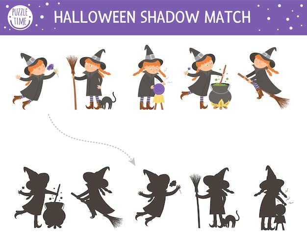 Halloween-schatten-matching-aktivität für kinder. herbstpuzzle mit hexen. lernspiel für kinder mit gruseligen charakteren. finden sie das richtige arbeitsblatt zum ausdrucken der silhouette.