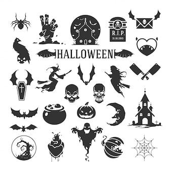 Halloween-schattenbilder getrennt auf weißem hintergrund
