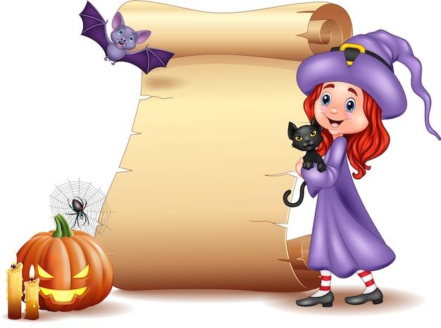 Halloween-schild mit kleiner hexe