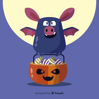Halloween-schlägerhintergrund im flachen design