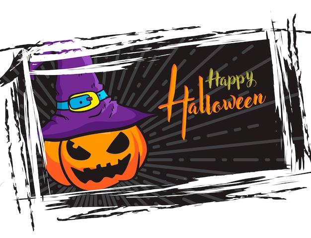 Halloween-schmutzhintergrund, mit kürbissteckfassung o-laterne