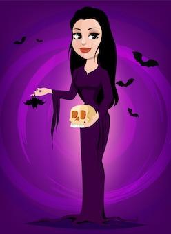 Halloween. schöne dame hexe im gotischen stil