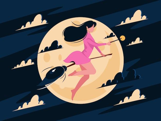 Halloween schönes hexenmädchen auf einem besen mit vollmond