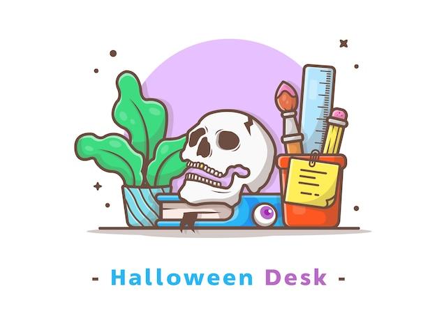 Halloween-schreibtisch mit schädel, buch und betriebsvektor-illustration