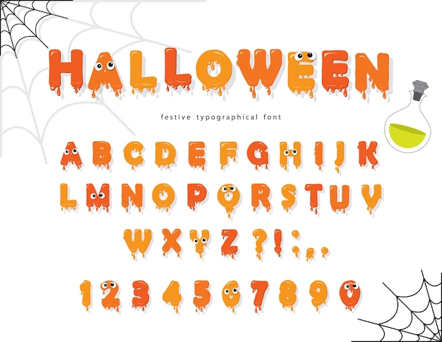 Halloween-schriftart für kinder