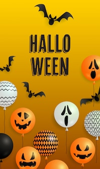 Halloween-schriftzug, geisterballons und fledermäuse