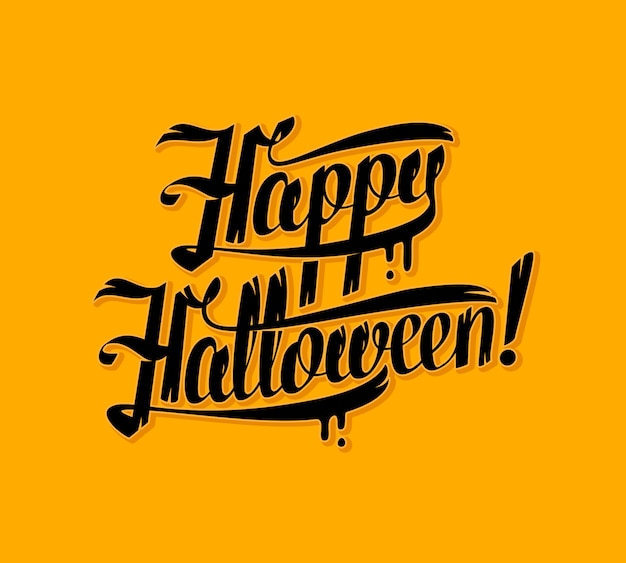 Halloween schriftzug grußkarte. illustrationshintergrund.
