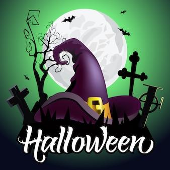 Halloween-schriftzug. hexenhut auf friedhof, fledermäuse, baum und mond