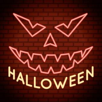 Halloween-schriftzug im neonlicht mit kürbisgesicht
