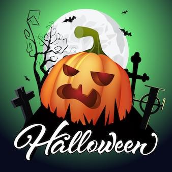 Halloween-schriftzug. kürbis auf friedhof, fledermäuse, baum und mond