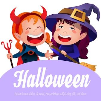 Halloween-schriftzug mit fröhlichen hexen