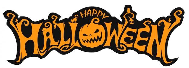 Halloween schriftzug mit kürbis