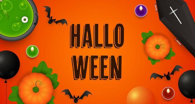 Halloween-schriftzug mit kürbissen, kessel, sarg und fledermäusen