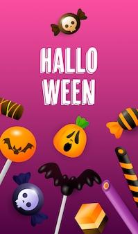 Halloween schriftzug mit lollypops kuchen und süßigkeiten