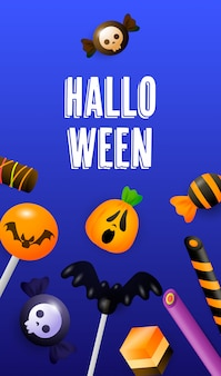 Halloween-schriftzug mit lutscher, zuckerstangen und süßigkeiten