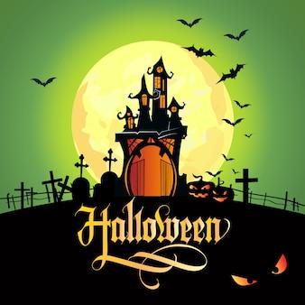 Halloween-schriftzug mit mond, friedhof und schloss