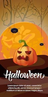 Halloween-schriftzug mit orange mond, kürbis und spinnen