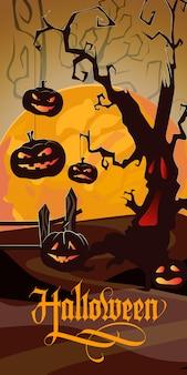 Halloween-schriftzug mit orangefarbenem mond, gruseligem baum und kürbissen