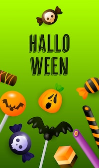 Halloween-schriftzug mit süßigkeiten, lutscher und zuckerstangen