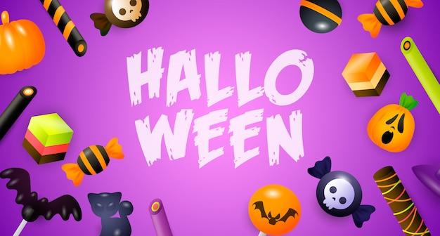 Halloween-schriftzug mit süßigkeiten, süßigkeiten und kuchen