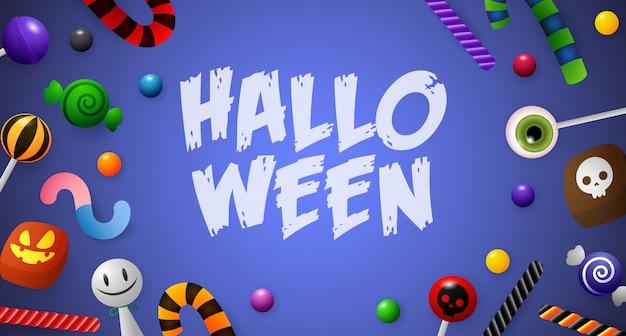 Halloween-schriftzug mit süßigkeiten