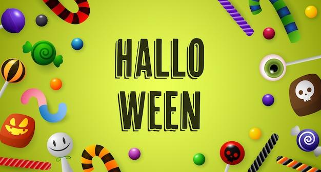 Halloween-schriftzug mit süßwaren