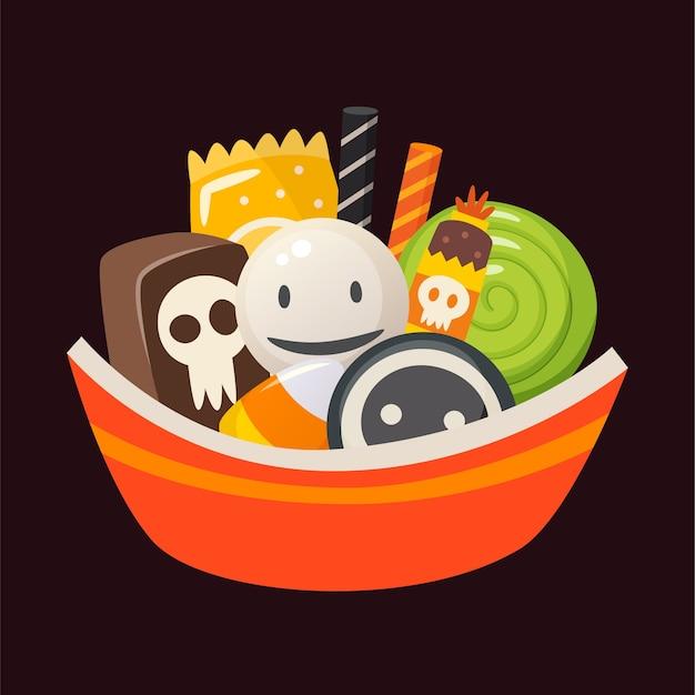 Halloween-schüssel voller süßigkeiten, bonbons und desserts
