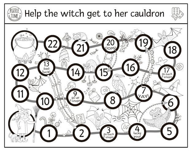 Halloween schwarz-weiß-brettspiel für kinder mit süßer hexe und gruseligen tieren pädagogisches wildschwein