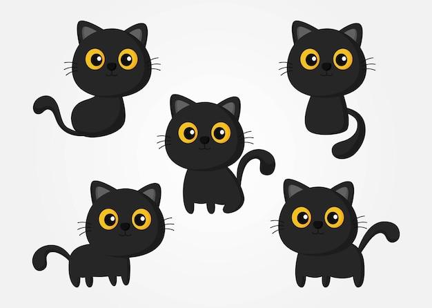 Halloween schwarze katze set isoliert auf weißem hintergrund Premium Vektoren