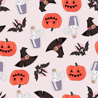 Halloween seamless pattern kürbis und bat