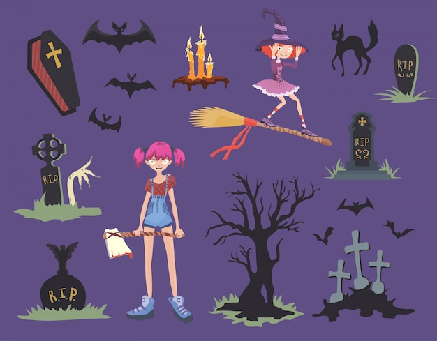Halloween-set. mädchen mit axt, schwarzer katze, hexe auf einem besen, grabsteinen und anderen halloween-symbolen.