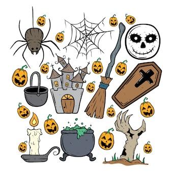 Halloween-set mit doodle-kunst