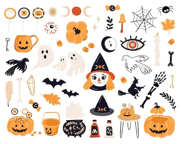 Halloween-set mit elementen.