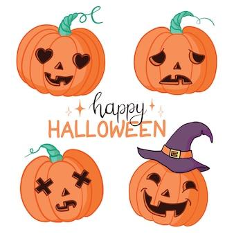 Halloween set mit kürbissen