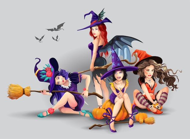 Halloween-set mit schönen hexen. sammlung verschiedener niedlicher schöner hexen. gruppe von schönen mystischen mädchen. isolierte illustration im karikaturstil