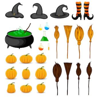 Halloween set mit traditionellen attributen. cartoon-stil. vektor.