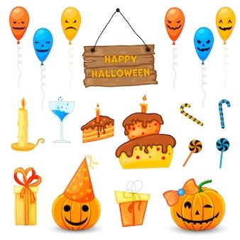 Halloween set mit traditionellen attributen