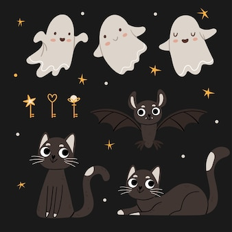 Halloween-set nette geister schwarze katzen fledermäuse magische schlüssel herbststimmung nachthimmel