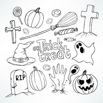 Halloween-set. stellen sie mit niedlichen feiertagssymbolen ein.