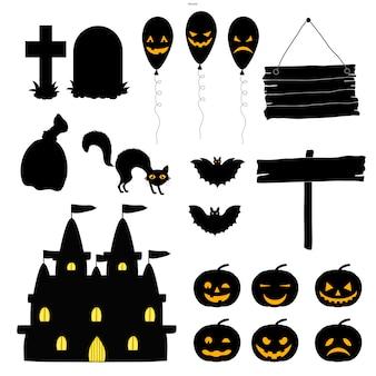 Halloween-set von silhouetten mit traditionellen attributen auf weißem hintergrund. cartoon-stil. vektor.