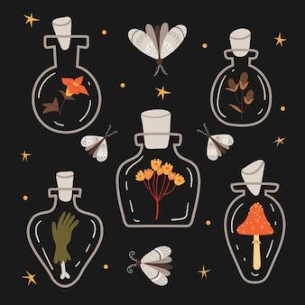 Halloween-set zauberflaschen mit zaubertrankmotteherbststimmung