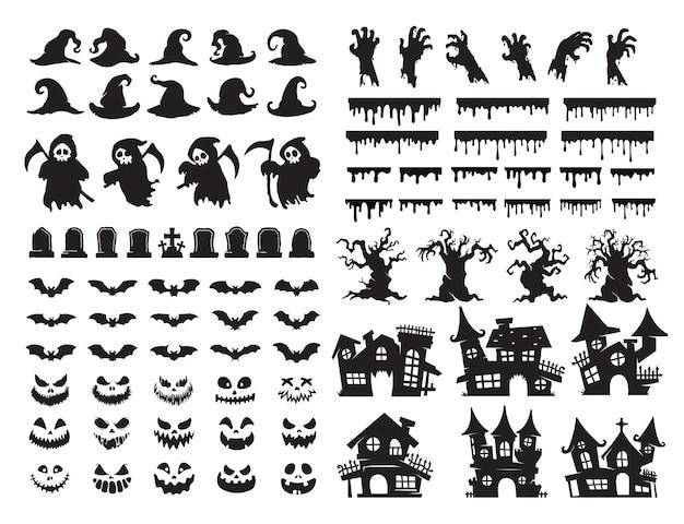 Halloween-silhouette-elemente. gruseliger geistergeistvektor für halloween-kartendekoration