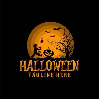 Halloween silhouette vektor illustration logo design