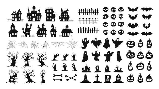 Halloween-silhouetten. gruselige dekorationen zombiehände, gruseliger baum, geister, spukhaus, kürbisgesichter und friedhof grabsteine vektorset. illustration halloween-fledermaus, beängstigend und gruselig
