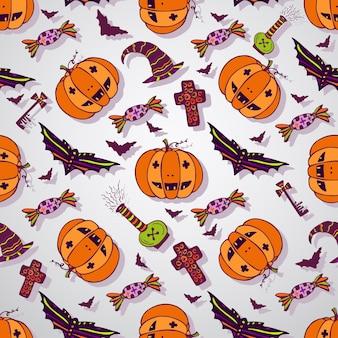 Halloween skizziert hintergrund. hand gezeichnete feier nahtlose muster