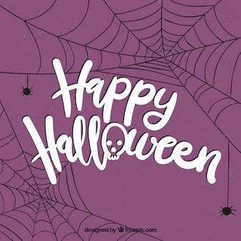Halloween-skript mit spinnweben