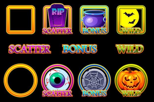 Halloween slots icons im rahmen. wild-, bonus- und scatter-symbole für spielautomaten im halloween-stil