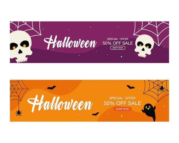 Halloween sonderangebot verkauf mit ghost and skulls design, jetzt einkaufen und e-commerce-thema.