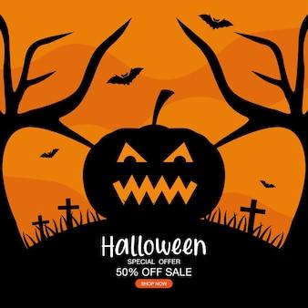 Halloween sonderangebot verkauf mit kürbis cartoon design, jetzt einkaufen und e-commerce-thema.